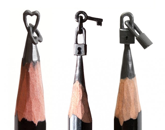 Micro Sculptures into pencils lead - by Salavat Fidai