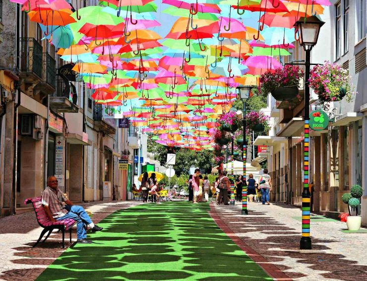 umbrella's colorful sky