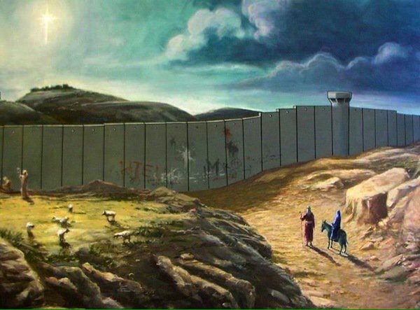 On Banksy's Christmas Card Joseph And Mary Can't Make It To Bethlehem  - Be artist Be art