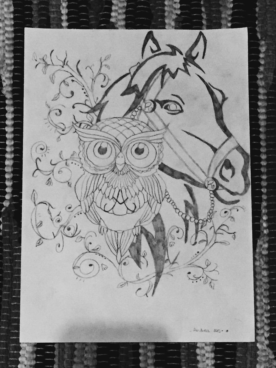 Búho y caballo - A.S Ilustraciones - Be artist Be art