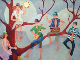 Sipping Wine w. Angels - by Audrey Mabee - be artist be art - urban magazine
