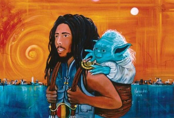 Two much soul - Bob Marley & Yoda - be artist be art - urban magazine