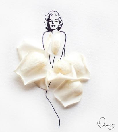 Marilyn Monroe Dressed by Flowers - by Arteide - be artist be art