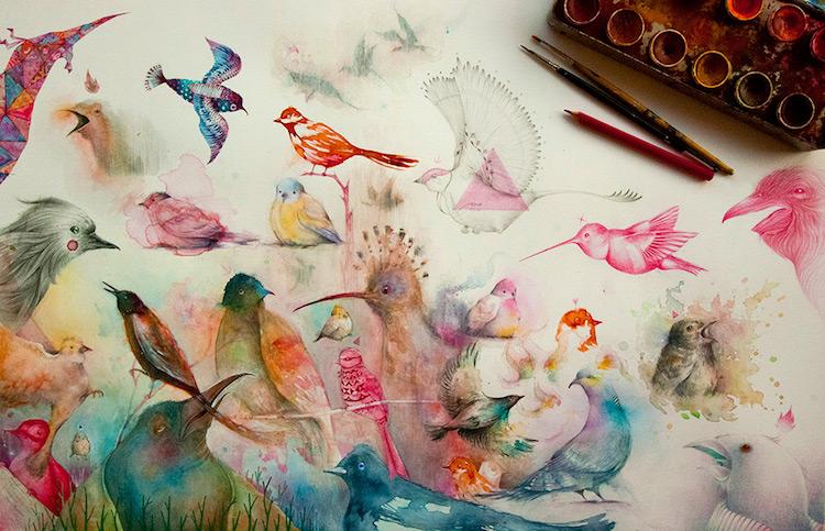 Birds & Bugs Dreamworld - Fantasy Illustration by Vorja Sánchez - be artist be art magazine