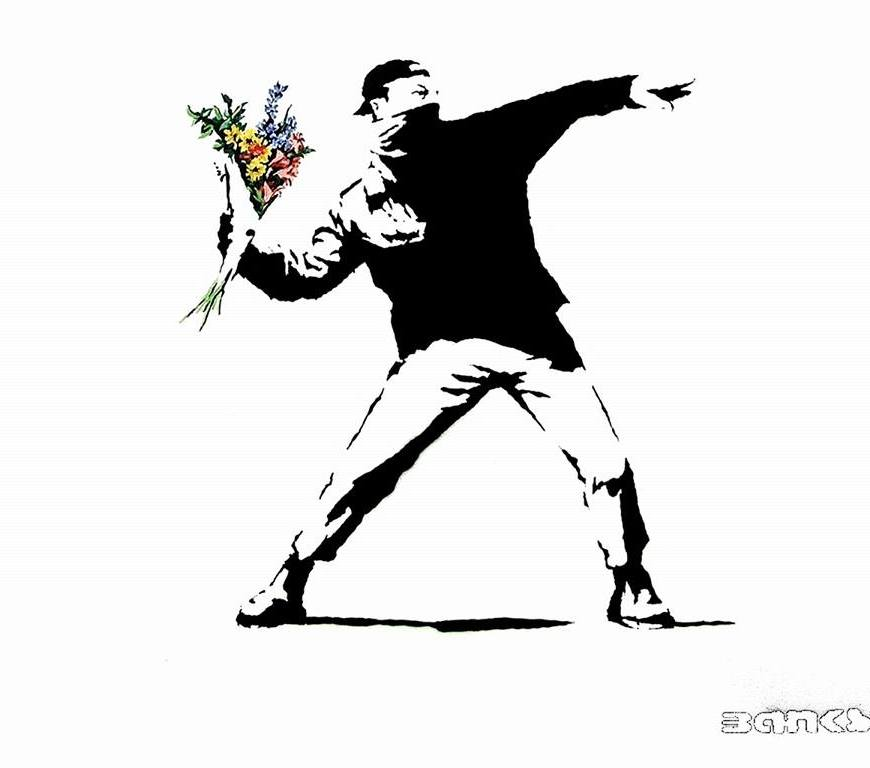 "Be kind every moment possible, always is possible! - Bansky ""Love War"" #Streetart - be artist be art magazine"