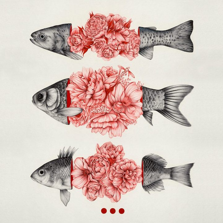 Flowered Fishes - Creative Illustrations by The Withe Deer - be artist be art Magazine