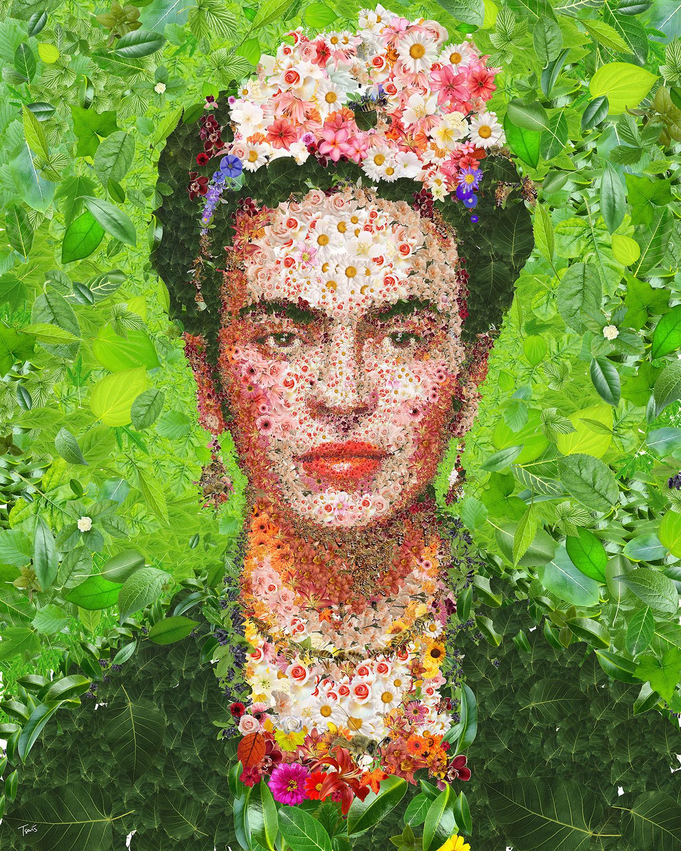 Flowerful #Frida Khalo - by Charis Tsevis - be artist be art magazine