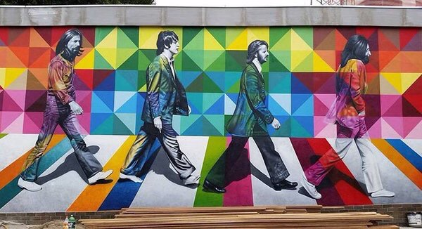 Colorful #Beatles - #Creative #StreetArt by ‪@kobrastreetart‬ - be artist be art magazine
