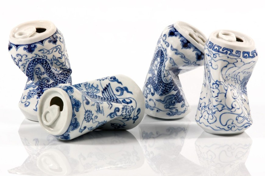 Smashed Porcelain Cans - by Lei Xue - be artist be art magazine