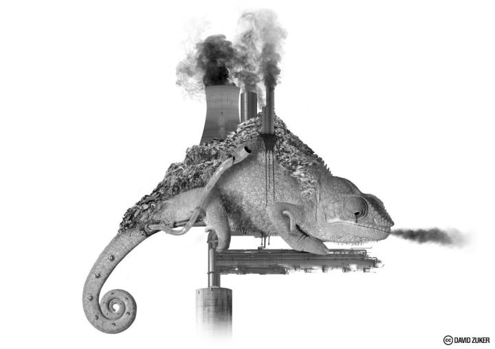 Antinatura, pollution destroy nature - by David Zuker - be artist be art magazine