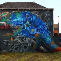 Flowerful Chameleon #Streetart - by Super A and Zenk One